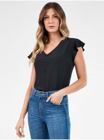 blusa feminina preta com mangas evase celia frente