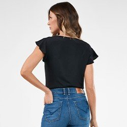 blusa feminina preta com mangas evase celia costas mini