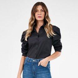 camisa manga curta preta feliciana lookbook frente mini