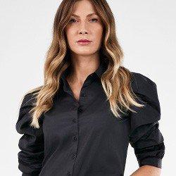camisa manga curta preta feliciana lookbook frente mini detalhe