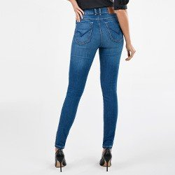 calca jeans skinny cintura media rosie mini costas