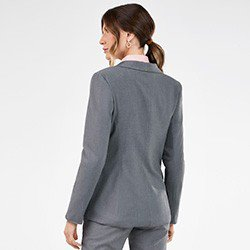 blazer feminino cinza de alfaiataria paulina costas mini