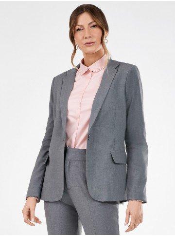 blazer feminino cinza de alfaiataria paulina frente