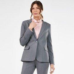 blazer feminino cinza de alfaiataria paulina frente mini