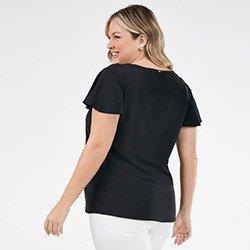 blusa feminina plus size preta manga evase orlanda costas mini