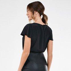 blusa feminina preta manga evase orlanda costas mini