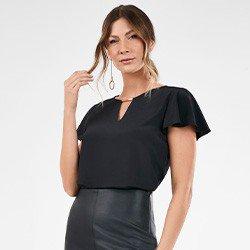 blusa feminina preta manga evase orlanda frente mini
