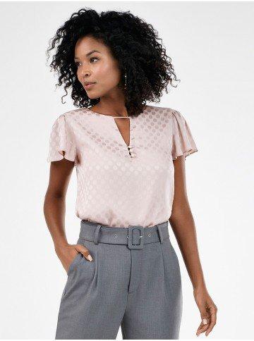 blusa feminina rose de poa com manga gode paola frente