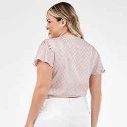 blusa feminina rose de poa plus size com manga gode paola costas mini