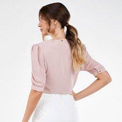 blusa rose manga bufante com gola rendada perola costas mini