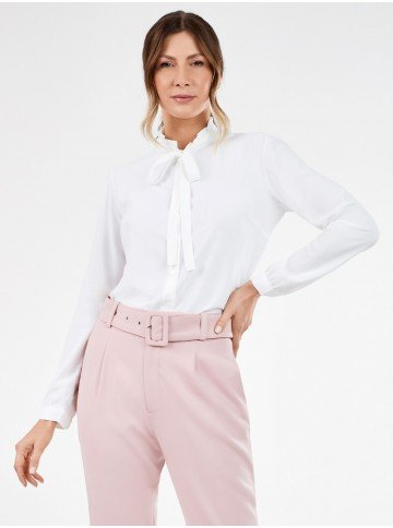 camisa feminina gola laco branca ophelia frente
