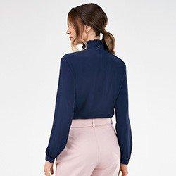 camisa feminina gola laco marinho pietra costas mini