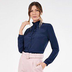 camisa feminina gola laco marinho pietra frentemini