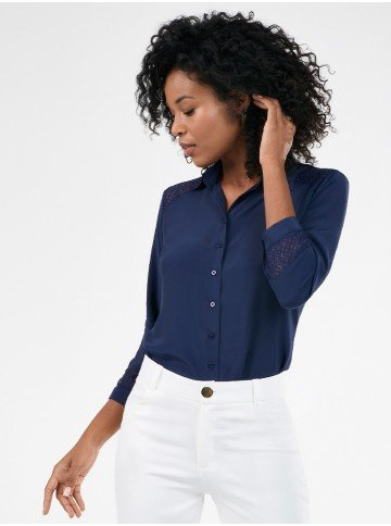 camisa feminina marinho manga 7 8 com renda patricia frente