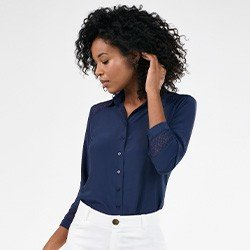 camisa feminina marinho manga 7 8 com renda patricia frente mini