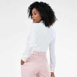 camisa feminina off white manga longa priscila costas mini