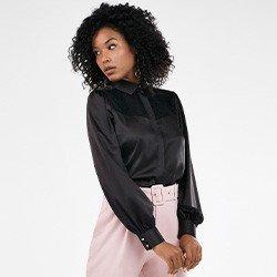 camisa feminina preta com renda pamela frente mini