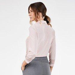 camisa feminina rose manga 7 8 com renda odete costas mini