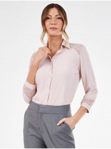 camisa feminina rose manga 7 8 com renda odete frente