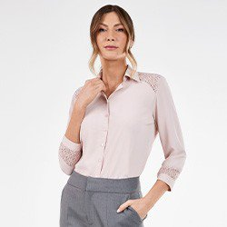 camisa feminina rose manga 7 8 com renda odete frente mini