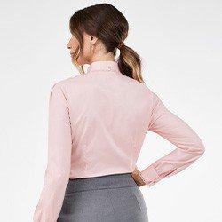 camisa feminina rose manga bufante paloma costas mini