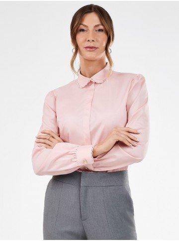 camisa feminina rose manga bufante paloma frente
