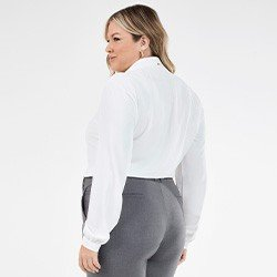 camisa manga longa feminina plus size com renda olga mini