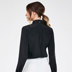 camisa manga longa feminina preta com renda pedrita costas mini