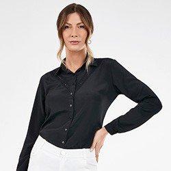 camisa manga longa feminina preta com renda pedrita frente mini