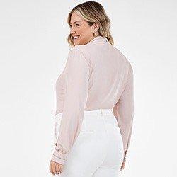 camisa rose feminina plus size com renda olimpia costas mini