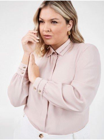 camisa rose feminina plus size com renda olimpia detalhe