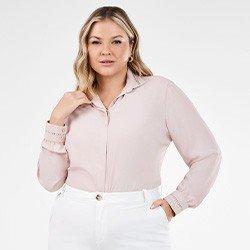 camisa rose feminina plus size com renda olimpia frente mini