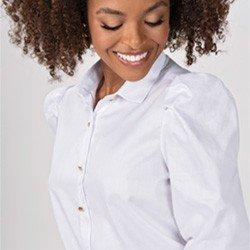 camisa branca com mangas bufantes elmira detalhe mini