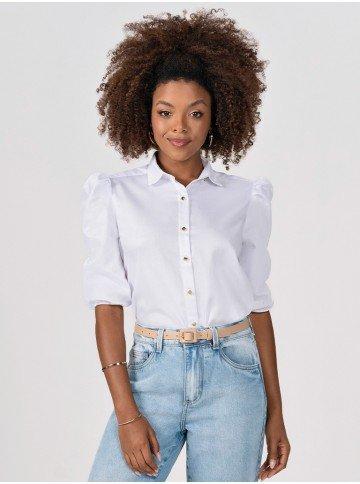camisa branca com mangas bufantes elmira frente