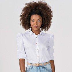 camisa branca com mangas bufantes elmira frente mini