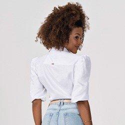 camisa branca com mangas bufantes elmira costas mini