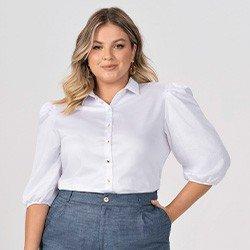 camisa branca plus size com mangas bufantes elmira frente mini