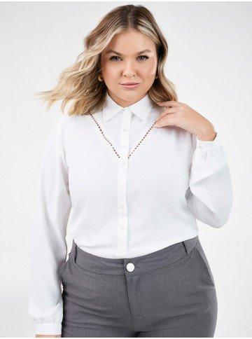 camisa manga longa feminina plus size com renda olga detalhe alterada