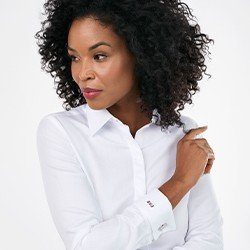 camisa branca premium personalizada com abotoadura nannie mini