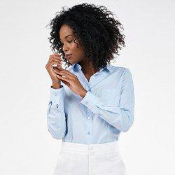 camisa azul monograma manga longaisla mini