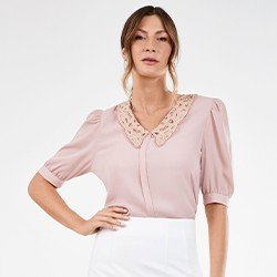 blusa feminina com golarendada perola mini