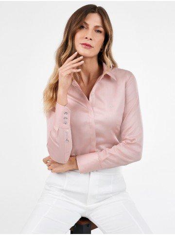 camisa monograma feminina rosa manga longa com botoes amber