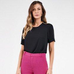 blusa basica preta manga curta romana mini