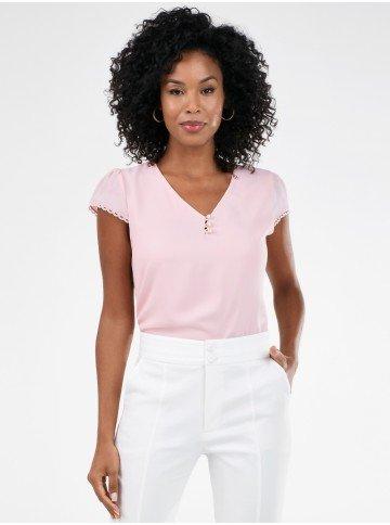blusa delicada rosa com renda rosalina