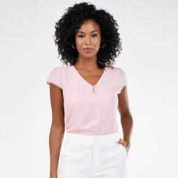 blusa delicada rosa com renda rosalina mini