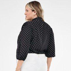 blusa feminina plus size com estampa geometrica ruana