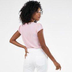 blusa lisa rosa com renda rosalina mini