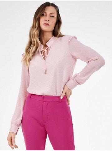 blusa rosa com babados e manga bufante rosilda
