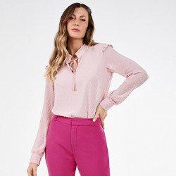 blusa rosa com babados e manga bufante rosilda mini