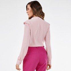 blusa rosa manga longa com gola padre rosilda mini